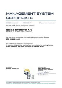 ISO_22000_Certificate_EN_valid_until_September_29_2018 of Resino Trykfarver A/S