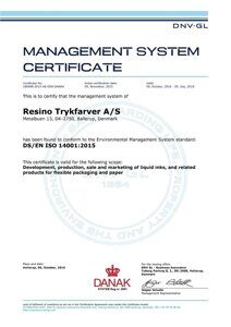 ISO 14001-2015 Certificate EN valid until July 29 2018 of Resino Trykfarver A/S