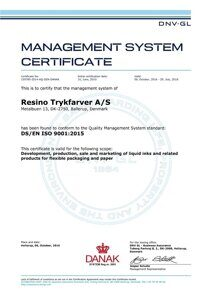 ISO 9001-2015 Certificate EN valid until July 29th 2018 of Resino Trykfarver A/S